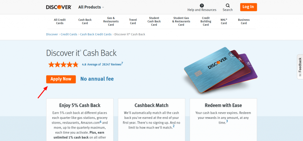Discover it Cash Back Card apply