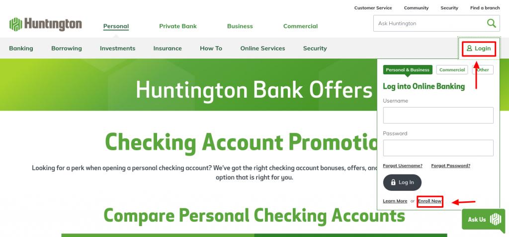 Huntington Bank Enroll now