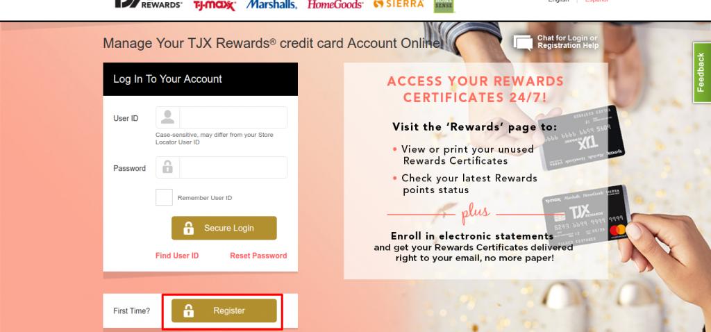 TJX Rewards credit card register