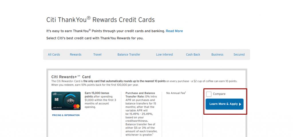 ThankYou Rewards Credit Cards apply