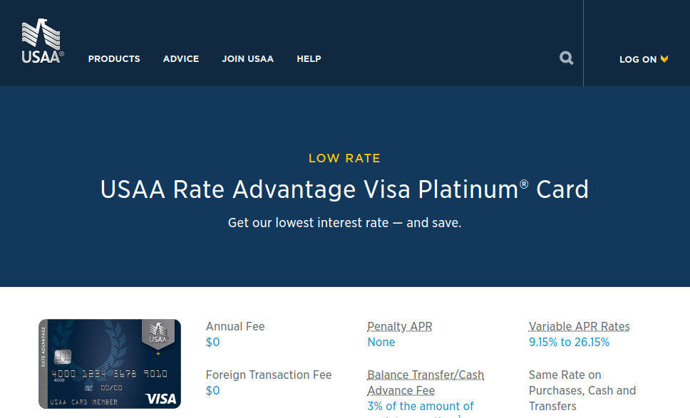 USAA Rate Advantage Visa Platinum Credit Card logo