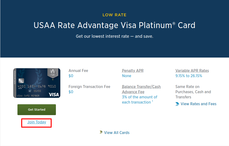 USAA Rate Advantage Visa Platinum card join