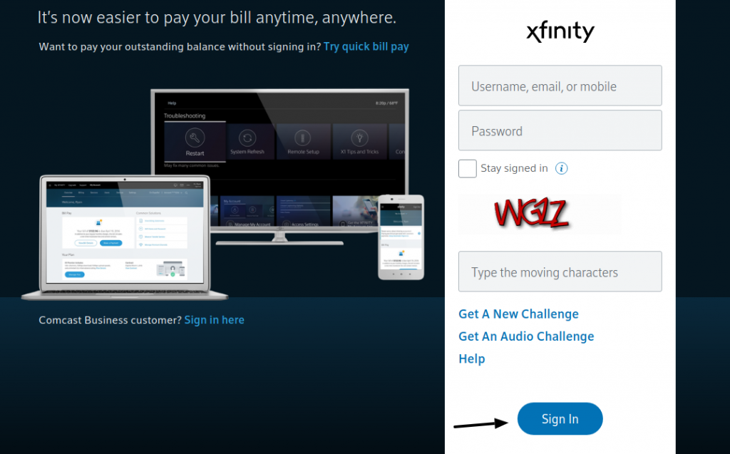 Sign in to Xfinity