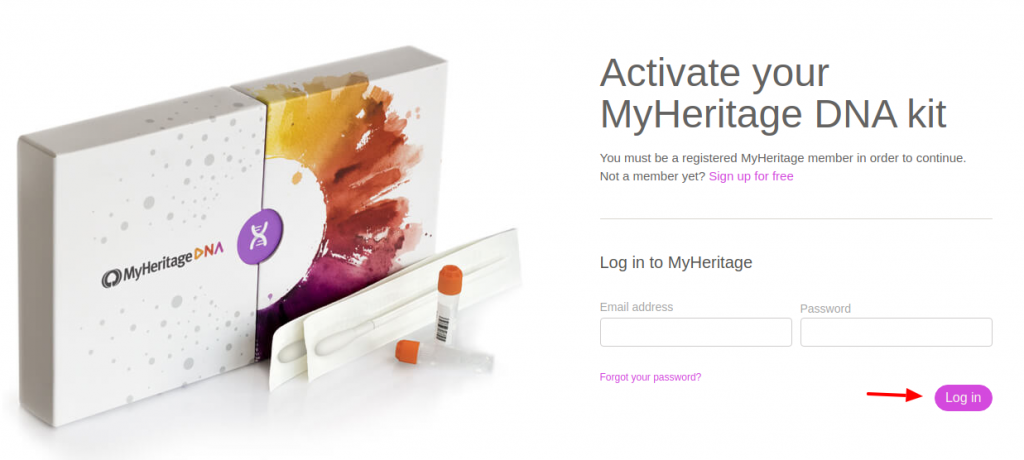 DNA activation - MyHeritage Login