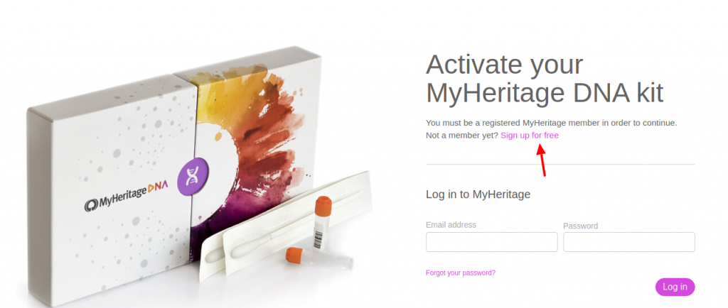 DNA activation - MyHeritage Sign Up