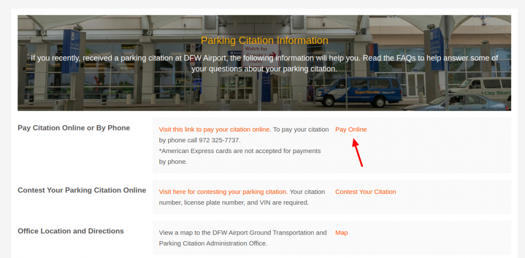 DFW International Airport Parking Citations Pay Online