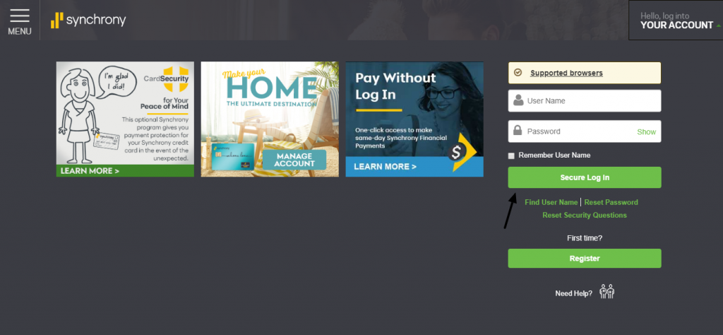 MySynchrony Consumer Financing Login