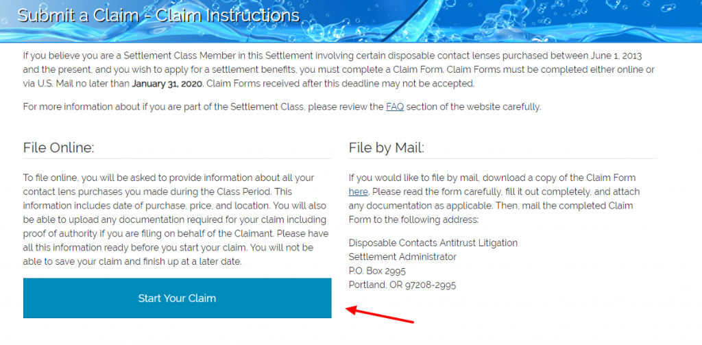 Submit a Claim Instructions