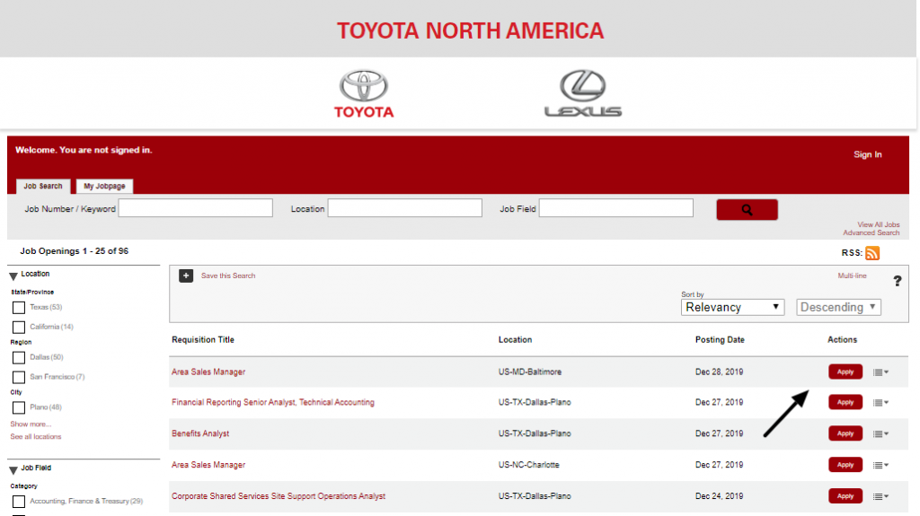 Toyota Job Apply