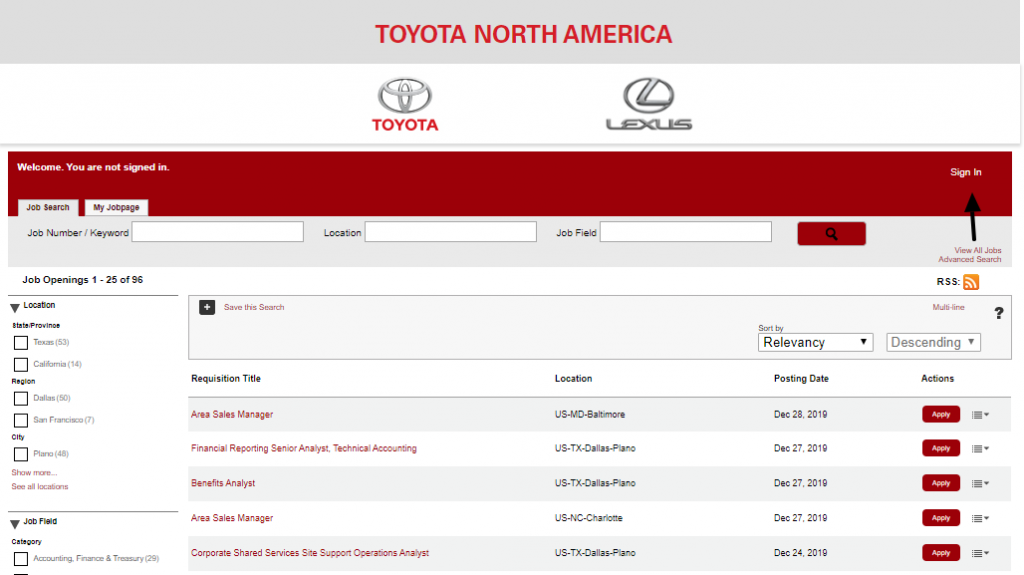 Toyota Job Sign In
