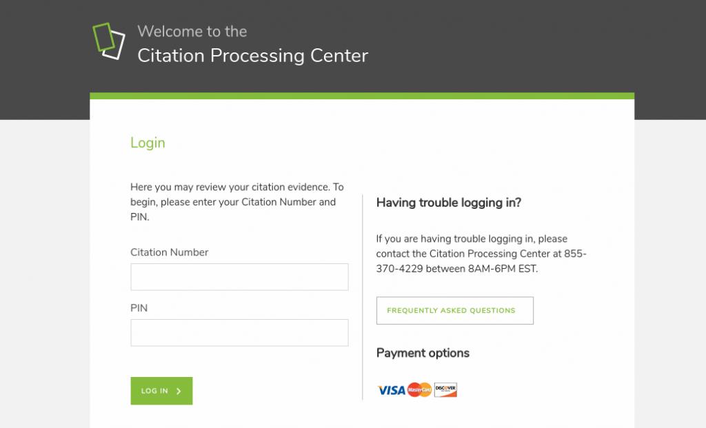 Citation processing center Login