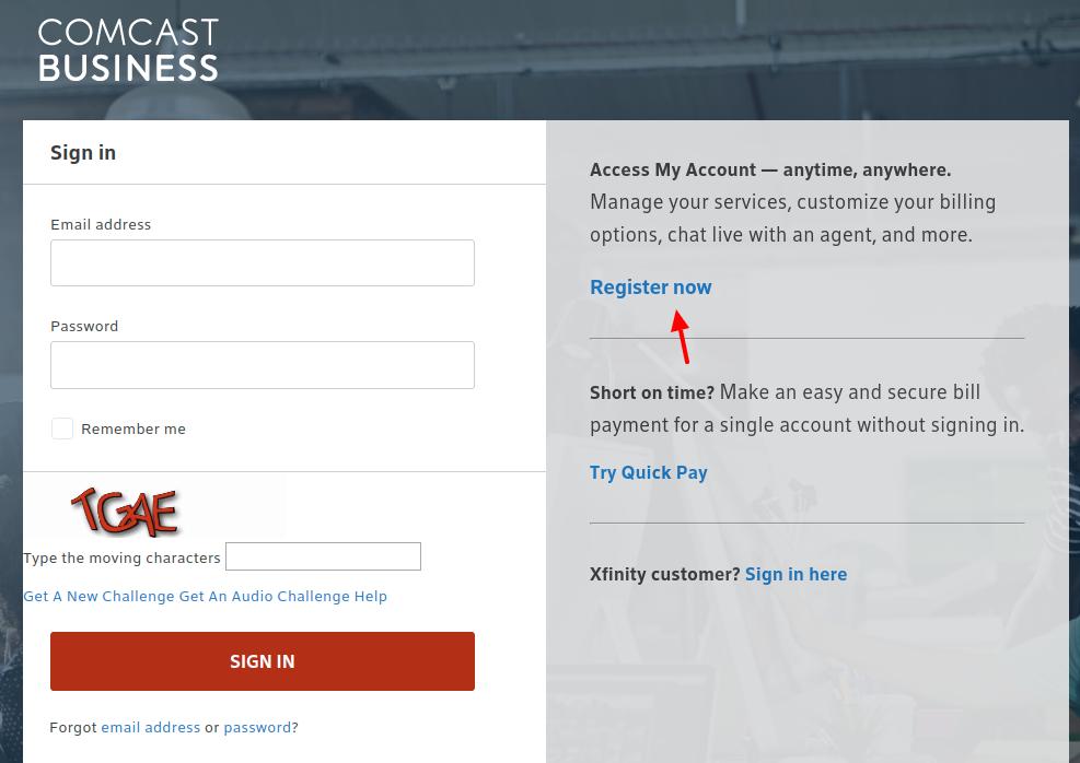 Comcast Business Register