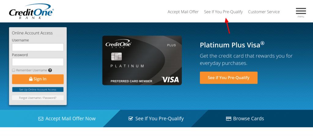 Credit One Bank Credi Card Pre-Qualify