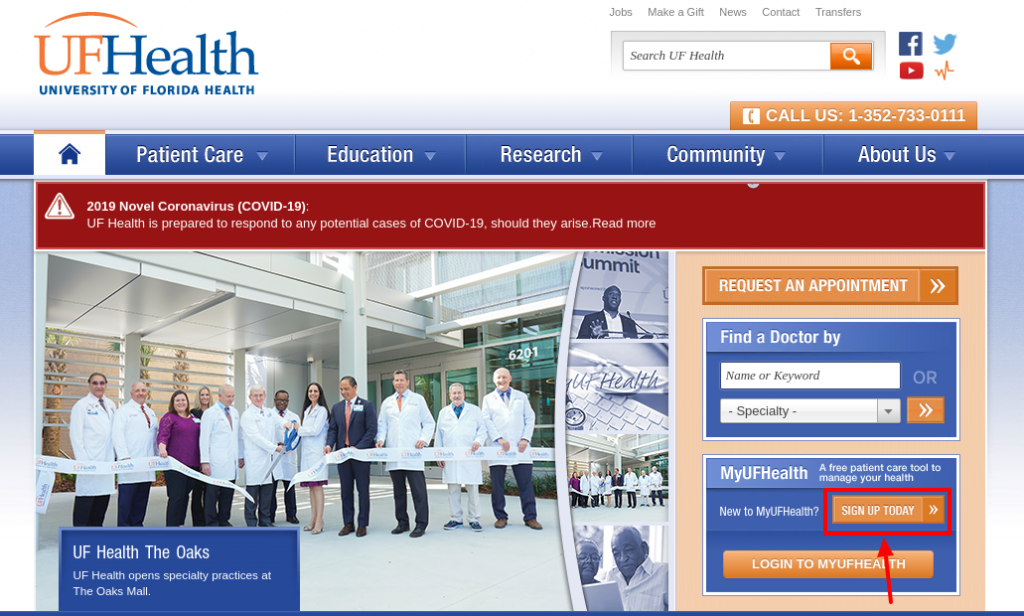 UF Health Sign Up