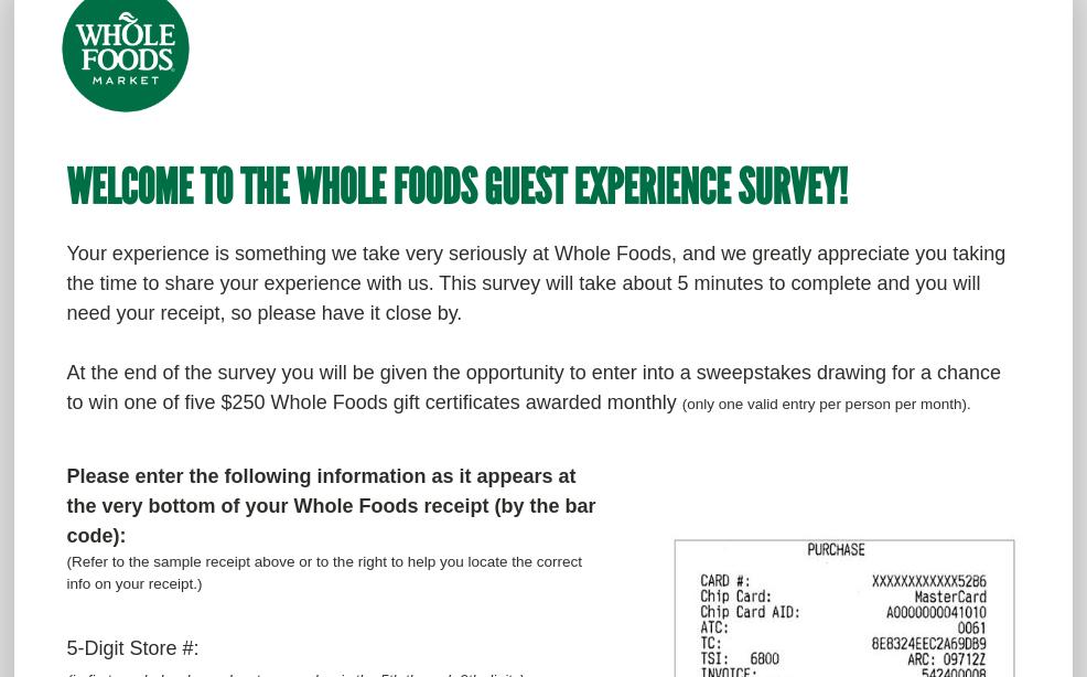 Whole Foods Market Survey
