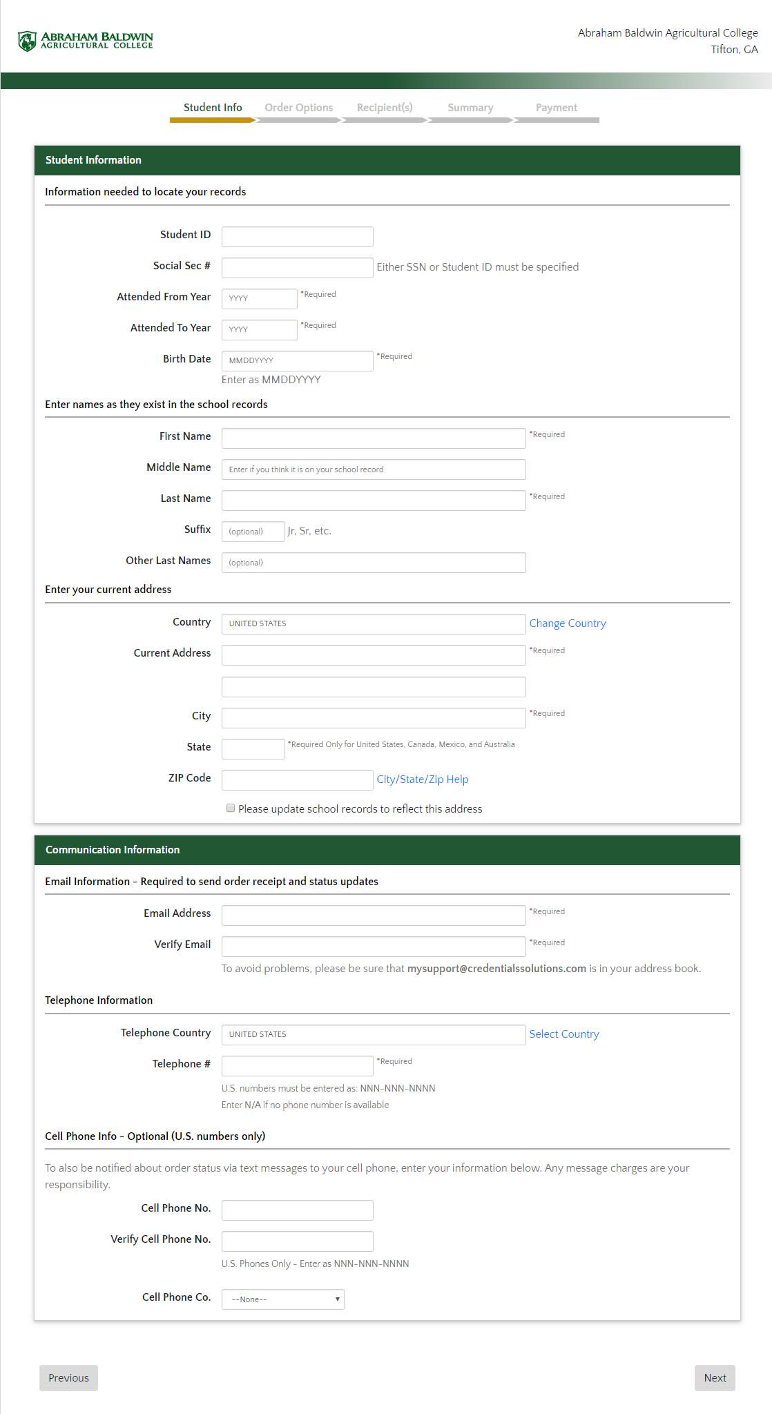order a transcript from Credentials SolutioTranscript Order Student Informationns online