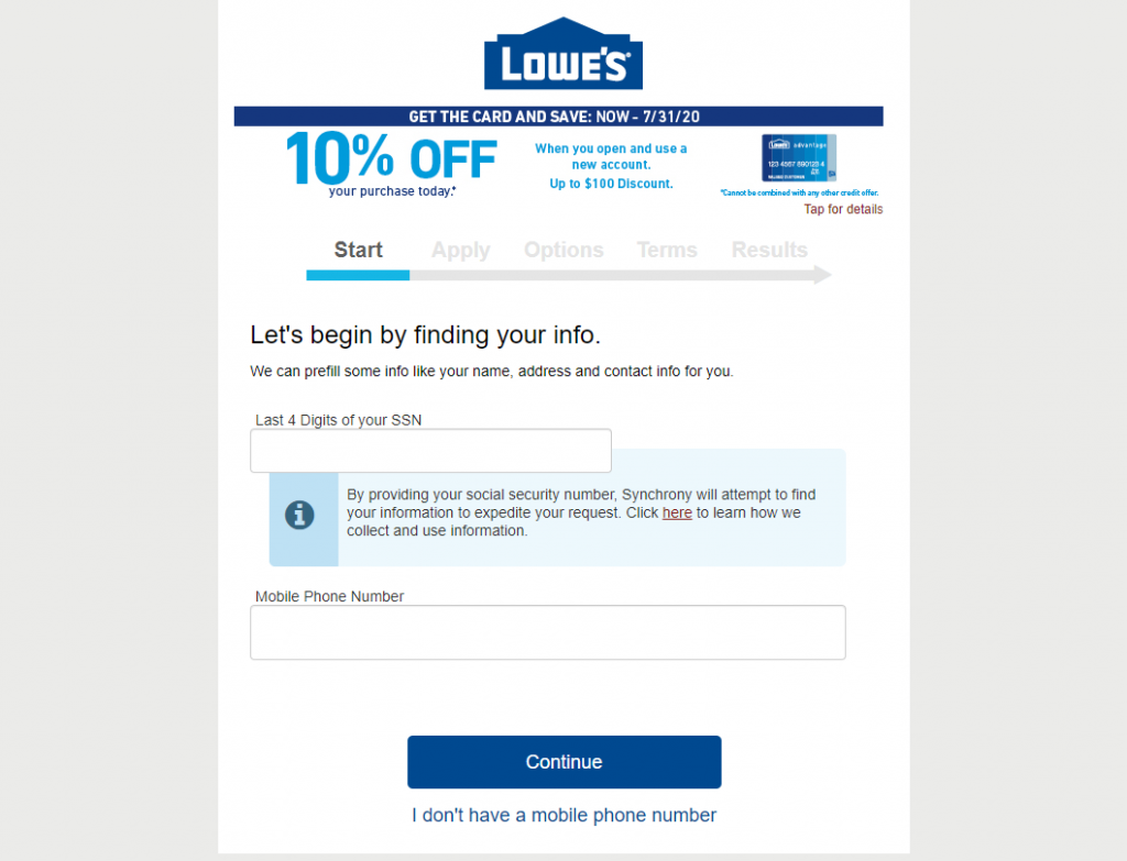 apply for Lowe's credit card