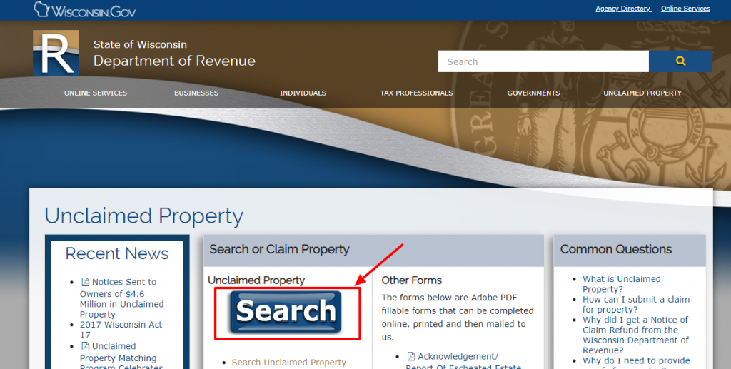 claim unclaimed properties in Wisconsin