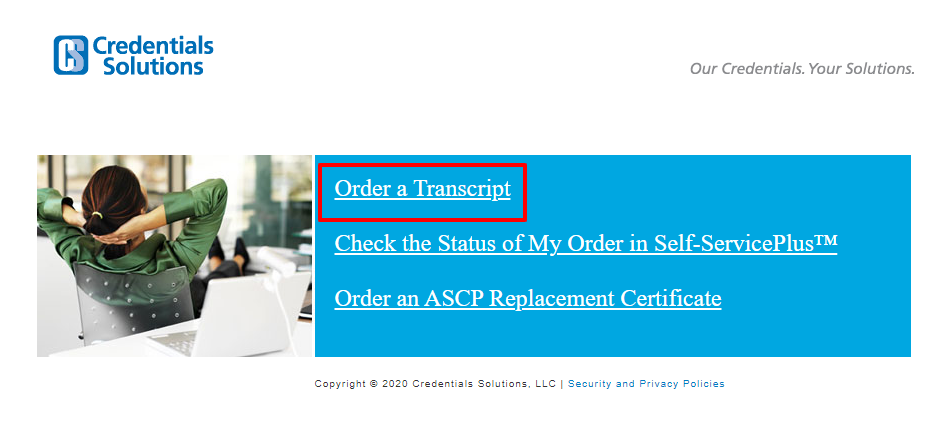 order a transcript from Credentials Solutions online