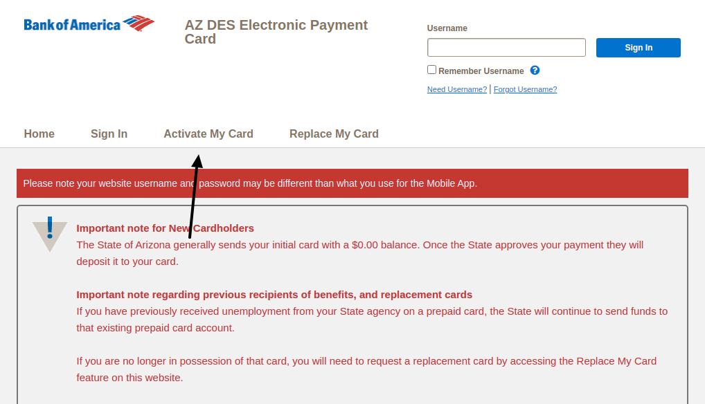 AZ DES Electronic Payment Card Activate