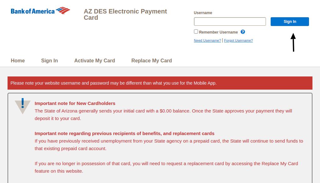 AZ DES Electronic Payment Card Login