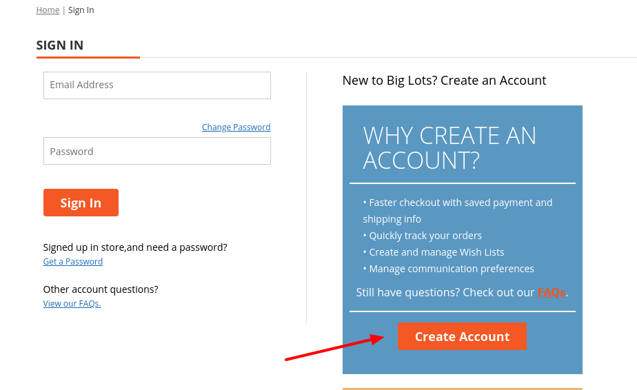 Big Lots Create Account