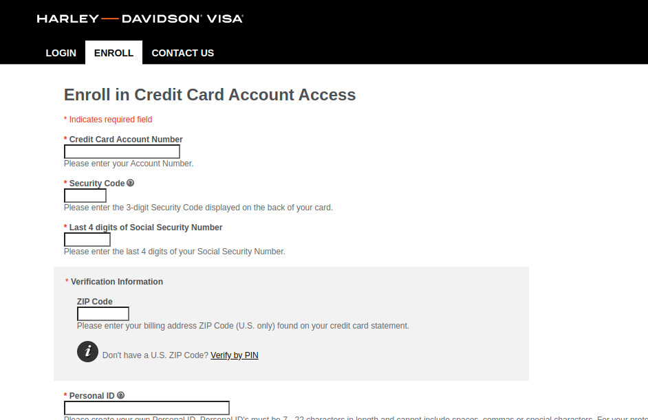 Harley Davidson Visa Credit Card Enroll