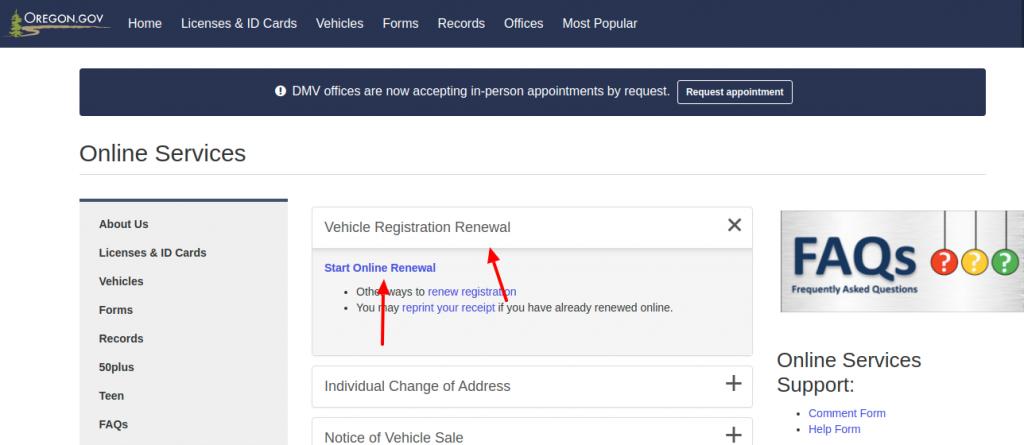 Oregon Department Vachil Registration