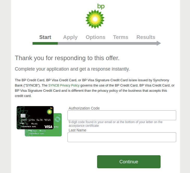 BP Credit Card Apply