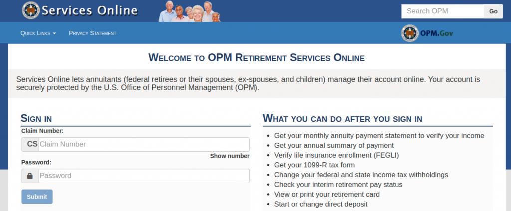 opm services online login
