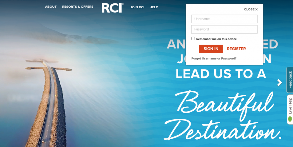 rci vacations login