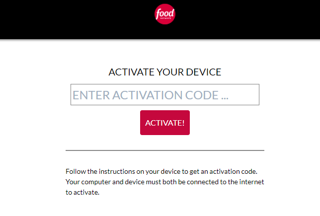 Activate Food Network GO