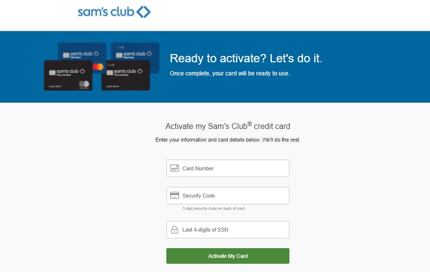Sams Club Credit Card Activate