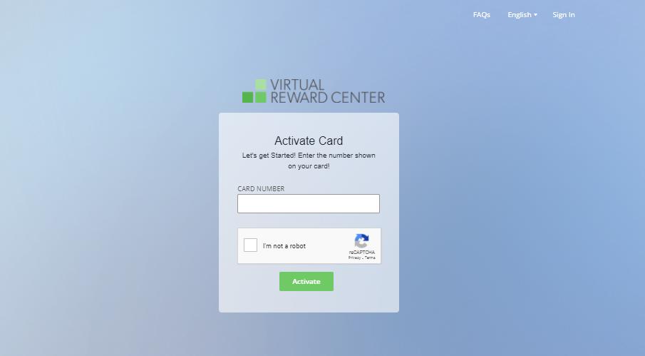 Virtual Reward Center Card Activate